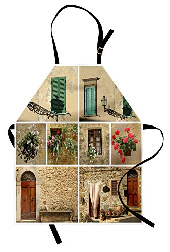 Ambesonne Italian Apron, Pictures of Italian Lifestyle with Old Classic Shutter Window Stone Houses Print, Unisex Kitchen Bib Apron with Adjustable Neck for Cooking Baking Gardening, Multicolor -
