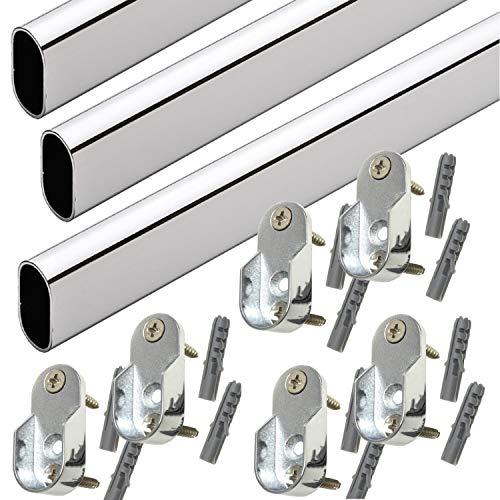 48 Oval Closet Rod with End Supports - Polished Chrome - 3 Sets