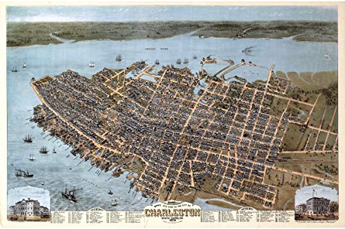 Map Historical Reproductions (History Prints Map Charleston SC; 1872 Reproduction a Birdseye View The City)