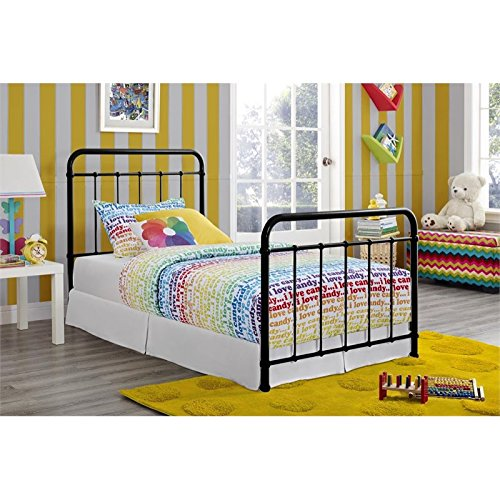 "DHP Brooklyn Metal Iron Bed w/ Headboard and Footboard, Adjustable height (7"" or 11"" clearance for storage), Sturdy Slats Included, No Box Spring Required, Twin Size Mattress, Black"