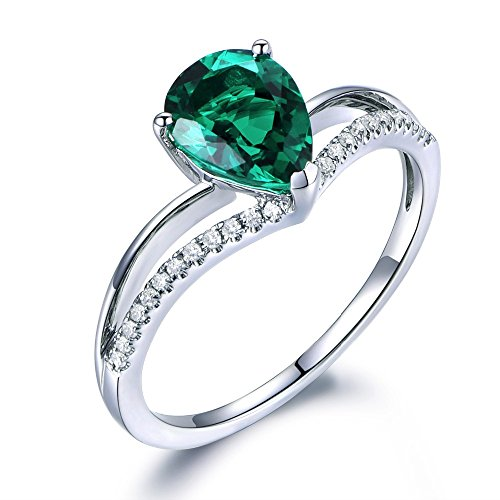 Gold Pear Shaped Lab (Lab Created Green Emerald Engagement Ring 925 Sterling Silver CZ Cubic Zirconia Pear Shaped White Gold)