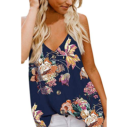 Opinionated Women's V Neck Sleeveless Sling Sexy Blouse Button Down Tank Tops Casual Printed Shirts