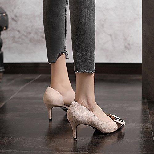 VIVIOO Sandalias De Mujer De Sandalias De Tacón Alto Zapatos De Tacón Altozapatos De Tacón Alto Primavera Verano Con Tacón Alto De Color Negro Con Tacón Alto Zapatos De La Boda De Hebilla Lado Salvaje Beige 6cm