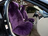 IMQOQ A Pair Genuine Sheepskin Long Wool Car 2 Front Seat Covers Set Winter Warm Universal Purple