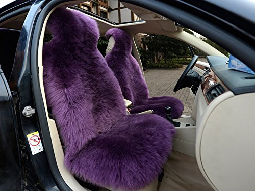 IMQOQ A Pair Genuine Sheepskin Long Wool Car 2 Front Seat Covers Set Winter Warm Universal Purple by IMQOQ