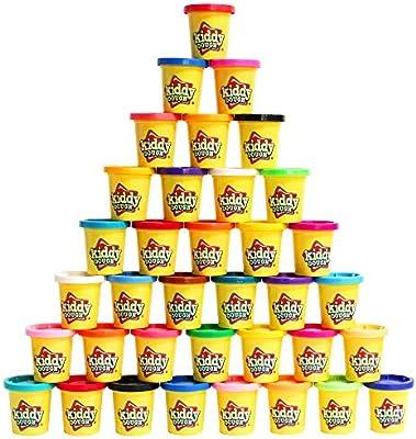 Kiddy Dough 36 Pack de Color plastilina - Mega Modelado y esculpido Playset con 36 latas Individuales de 3 onzas a Granel Exclusiva Fiesta Pack - no tóxicos: Amazon.es: Juguetes y juegos