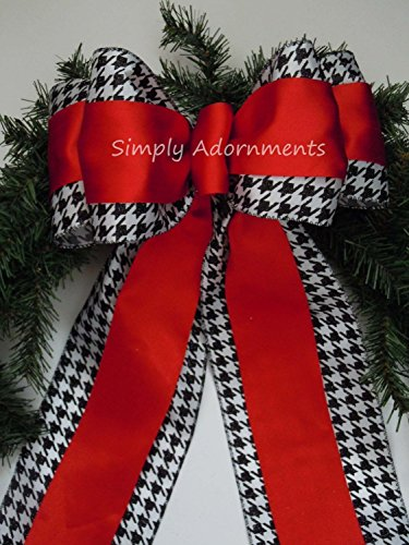 Red Black Houndstooth Bow Houndstooth Christmas Bow Red Black White Houndstooth Wedding Decoration Alabama Wreath Bow (Christmas Bows Tied Hand)