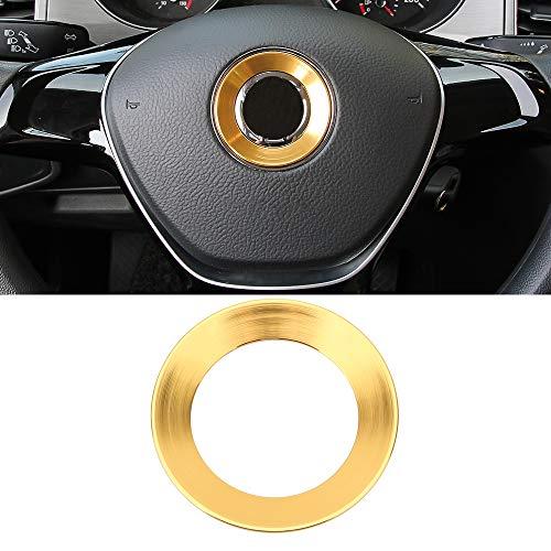 Senzeal Aluminum Alloy Car Steering Wheel Logo Trim Decoration Ring Sticker Fit for 2015 2016 2017 2018 VW Golf 7 e-Golf Golf GTI Sportwagen Gold