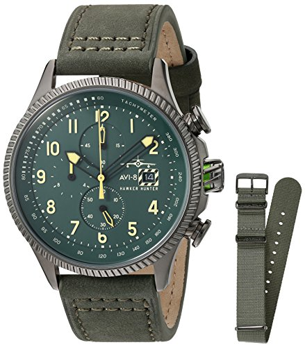 AVI-8 Men's 'Hawker Hunter' Quartz Stainless Steel and Leather Aviator Watch, Color:Green (Model: AV-4036-08)