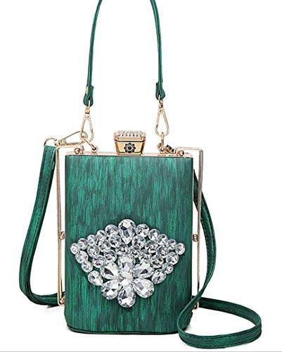 HYLM nuevo bolso bolsas de moda de diamantes flor decoración bolsa de hombro bolsa de metal / botella de vino forma cosmética bolsa , red deep green