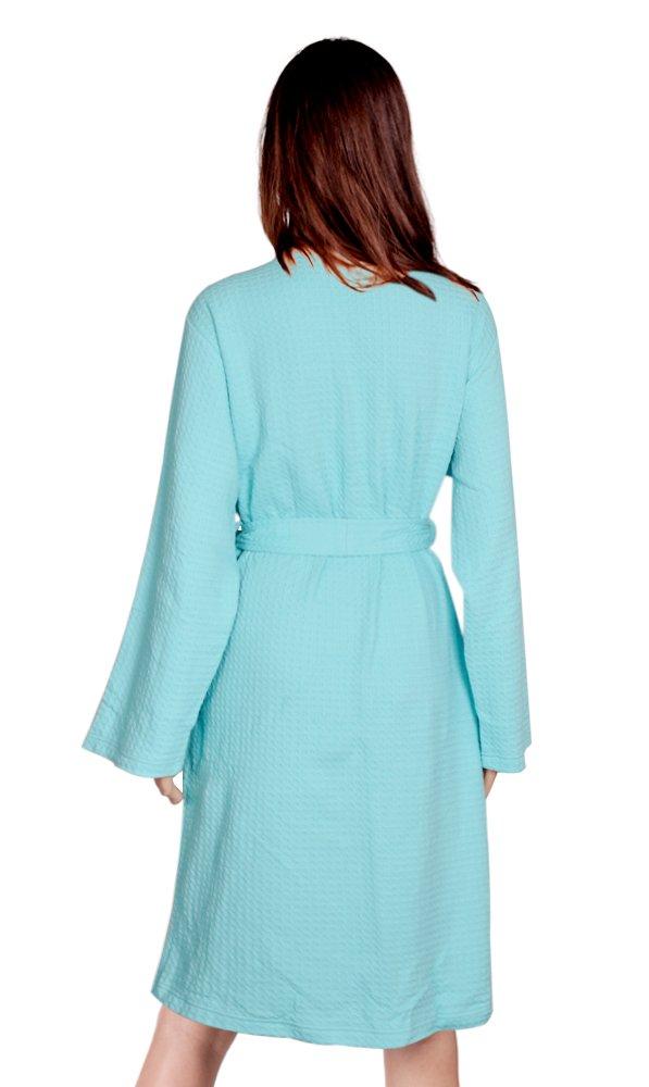 Cece Womens Robe Waffle Spa Bathrobe Lightweight Knee Length Hotel Sleepwear Aqua