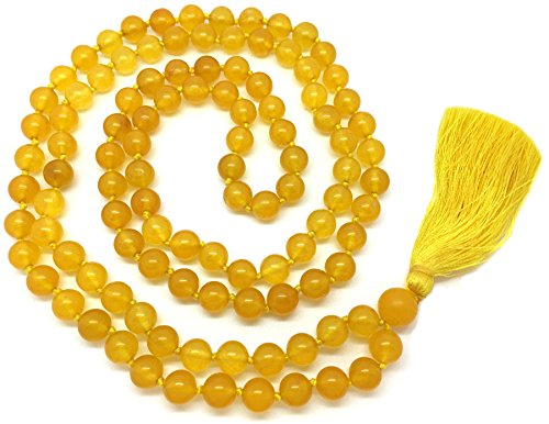 Odishabazaar Yellow Jade Japa Mala for Removing Inner Doshas Awakening -