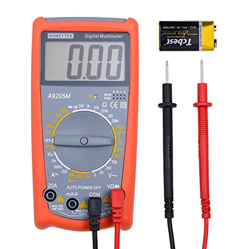 Robao Digital Multimeters A9205M Electronic Amp Volt Ohm Voltage Multi Tester Multimeter with Transistor hFE Tester Diode and Continuity Test LCD (Multimeter Transistor Test)