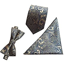 Mens Casual Paisley Tie Sets Party Wedding Neck Tie Bow Tie Hanky Set Grey