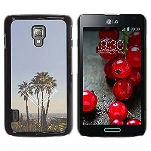 TopCaseStore / la caja del caucho duro de la cubierta de protección de la piel - California La Palm Trees - LG Optimus L7 II P710 / L7X P714