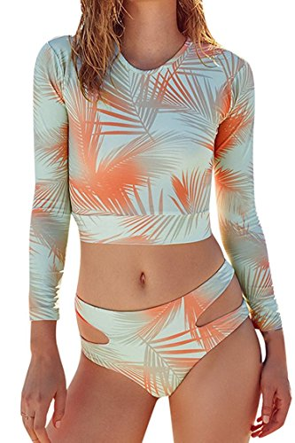 Women's Vintage Floral Long Sleeve UV Protection Rash Guard Beachwear Swimsuit