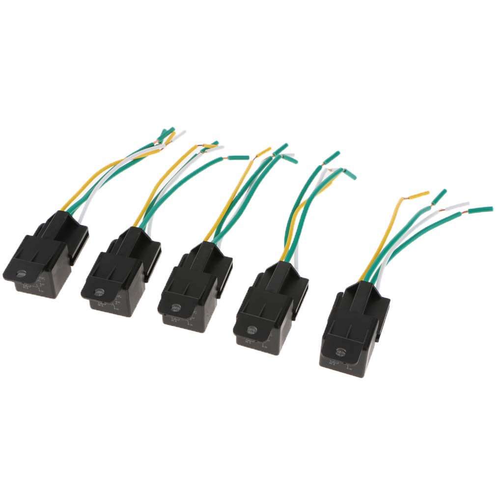 Homyl 5 Pieces Universal Horn Relay w Plug-in Harness Normally Close Contact Car Electronics & Accessories Car Electronics & Accessories