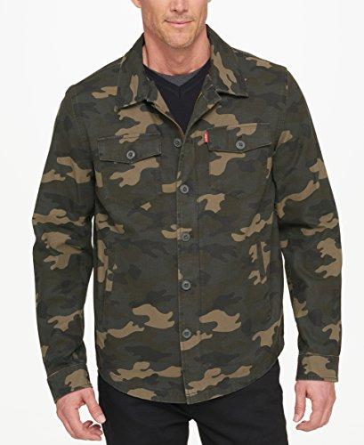 Levi's Men's Washed Cotton Shirt Jacket, Olive, Small