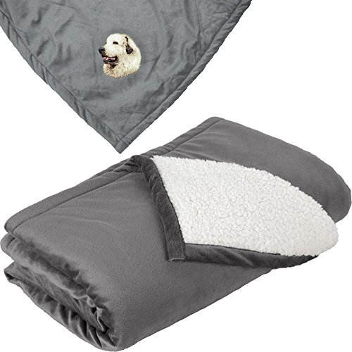 - Cherrybrook Dog Breed Embroidered Mountain Lodge Reversible Blanket - Gray - Great Pyrenees