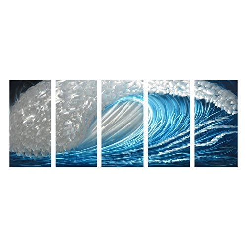Winpeak Art Blue Ocean Waves Aluminum Metal Wall Art Abstract Modern Contemporary Decor Painting Large Indoor and Outdoor Seascape Nautical Decorative Artwork (64''W x 24''H (12''x24'' x5 panels)) by Winpeak Art