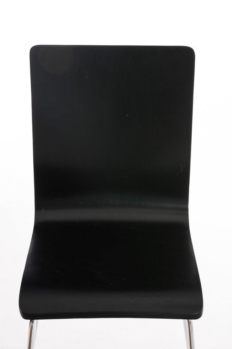 CLP Set de 2 Sillas Comedor Pepe I Juego de 2X Sillas de Conferencia con Asiento de Madera I 2X Sillas de Cocina con Base de Metal I Color Negro