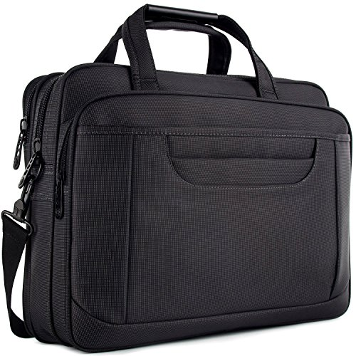 Laptop Briefcase, Waterproof Organizer Messenger Bag, Stylish Nylon Multi-functional Shoulder Bag Include Shoulder Strap for Men Women Fit for 15.6 Inch Notebook/Computer/Tablet/Macbook/Acer - Black