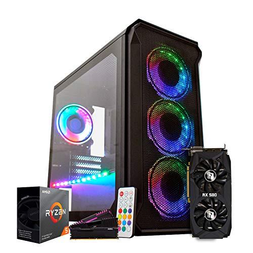 PC ITX Gamer FPS Headshot, Ryzen 5 3600 4.2GHz, X470, RX 580, SSD 240GB, 8GB, Gabinete RGB 3x Fans