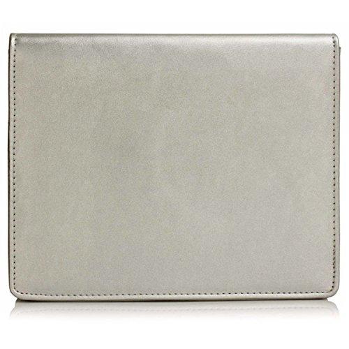 Clutch Medium Leather Flap London Ladies Envelope Faux UK Evening Bridal Prom Silver Women Xardi Bag T1AgnqwTx