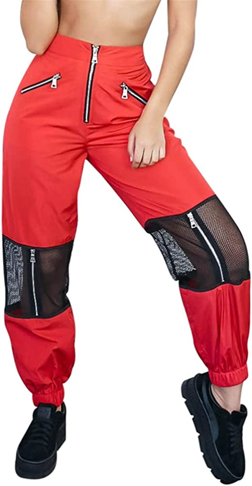 ORANDESIGNE Pantalone Largo Donna Baggy Hip Hop Harem Pants Punk Rock Lunghi Salopette Pantaloni Cargo Ragazza Moda Jogging Sport Dance Trousers