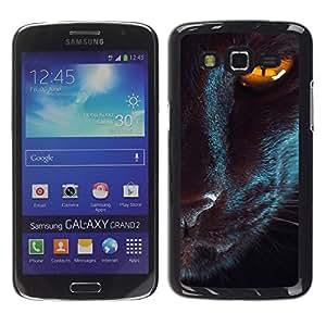 TopCaseStore / la caja del caucho duro de la cubierta de protección de la piel - Oriental Cat Eye Mystical Black Yellow - Samsung Galaxy Grand 2 SM-G7102 SM-G7105