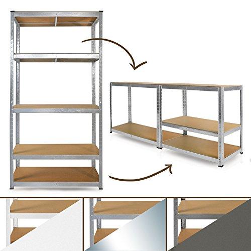 Schwerlastregal System | Farbe wählbar | Steckregal, auch als Werkbank aufstellbar | ideales Werkstattregal / Kellerregal | 180x90x40cm (verzinkt)