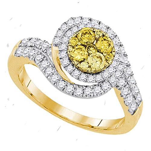 Yellow Diamond Halo Cluster Swirl Ring 1.00ct 14k Yellow Gold ()