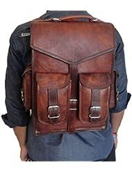 Handmade_World Brown Vintage Leather Backpack Laptop Messenger Bag Rucksack Sling for Men Women (12 x 16)