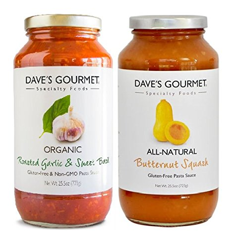 Dave's Gourmet Pasta Sauce 2- Flavor Variety Pack, Roasted Garlic & Sweet Basil, Butternut Squash, 25.5 oz Jars (Pack of ()