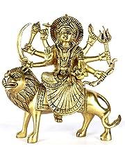 ASHIRWAD Maa Durga Brass Idol Statue Pital ki Murti of MATA Sheron Wali Goddess Devi (Durga-01)