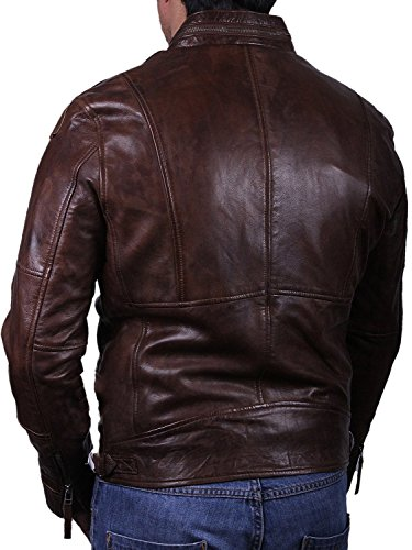 hombre marrón Brandslock de cuero para vendimia chaqueta motorista real Ux7OwP