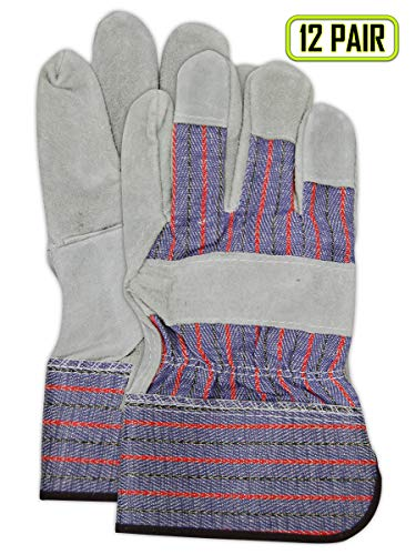 Magid Glove & Safety TB325IEST-XL Cow Split Leather Palm Glove, XL, Gray (Pack of 12)