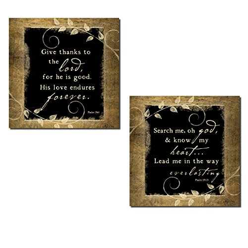 Give Thanks to The Lord, for He is Good. His Love Eudures Forever and Search Me, Oh God,and Know My Heart Religious Decor; Two 12x12in Unframed Paper Posters (Search Me Lord And Know My Heart)