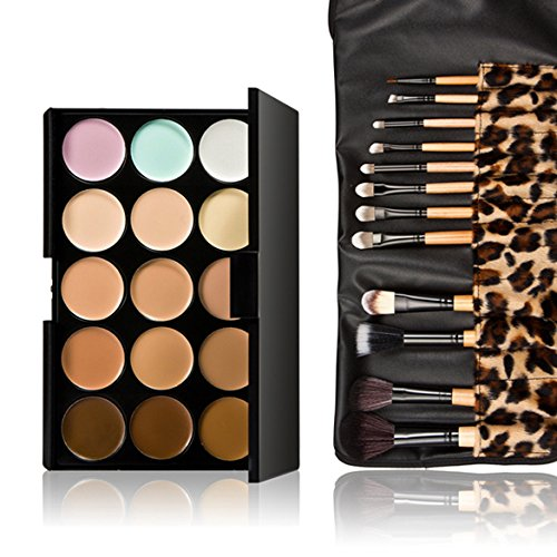 Vktech 15 Colors Contour Face Cream Makeup Concealer Palette 12pcs Leopard Brush