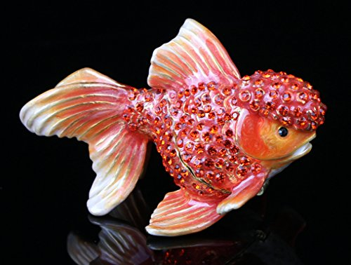 A Fish Trinket Box Czech Crystal Bejewled Enameled Hinged Fish Trinket Box (Red)