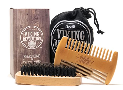 BEST-DEAL-Beard-Brush-and-Comb-Set-for-Men-Natural-Boar-Bristle-Brush-and-Dual-Action-Pear-Wood-Comb-w-Velvet-Travel-Pouch-Great-for-Grooming-Beards-and-Mustache-by-Viking-Revolution