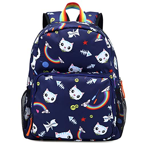 Kemy's Cat Preschool Backpack for Girls Rainbow Kitty Toddler Backpacks for Little Kids Preschooler Kindergarten Back Pack Nursery School Packie Kiddos Water Resistant Small Gift Navy Blue
