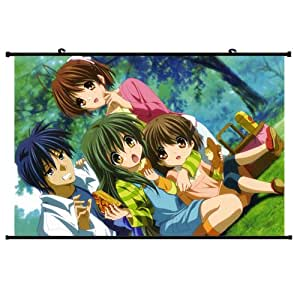 Clannad Anime Wall Scroll Poster Furukawa Nagisa Ibuki Fuuko Okazaki Ushio Okazaki Tomoya(24''*16'') Support Customized