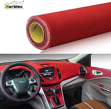 Selbstklebender Rot Mikrofaser Folie ähnl W Alcantara Optik Wildleder Mit Luftkanäle 36 Euro M 50cm X 142cm Auto