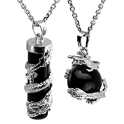 JOVIVI 2pc Dragon Wrapped Black Agate Round Ball Cylinder Gemstone Healing Crystal Pendant Necklace - Crystal Wrap Necklace