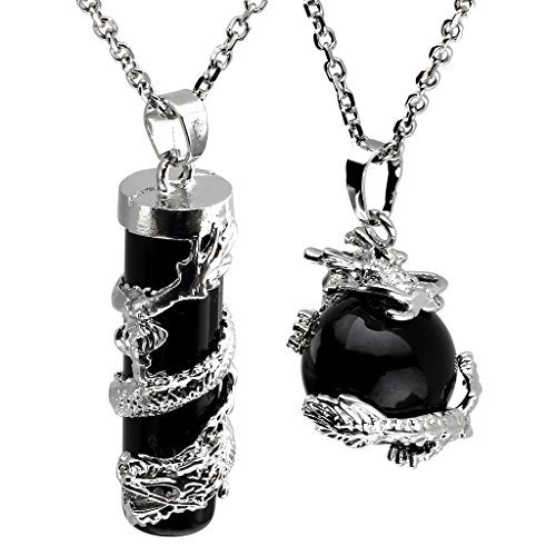 JOVIVI 2pc Dragon Wrapped Black Agate Round Ball Cylinder Gemstone (Black Crystal Pendant Necklace)