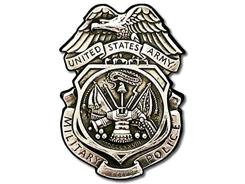 (American Vinyl Army MP Silver Badge Shaped Sticker (Logo Military Police))