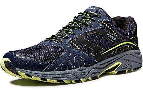 TSLA Men's Outdoor Sneakers Trail Running Shoe, Outdoor(t330) - Navy & Citron, 10.5