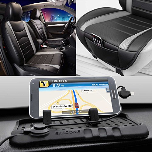 FH Group Summer Sale PU207102 NeoBlend Leatherette Front Pair Seat Cushions, Solid Black Color w. FH3012 Car Silicone Charger Stand- Fit Most Car, Truck, SUV, or Van (Nissan Rogue With Leather Seats For Sale)