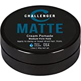 Matte Cream Pomade - Challenger 1.5oz Medium Firm Hold - Water Based, Clean & Subtle Scent. Best Men's Hair Styling Cream, Wax, Fiber, Clay, Paste All In One